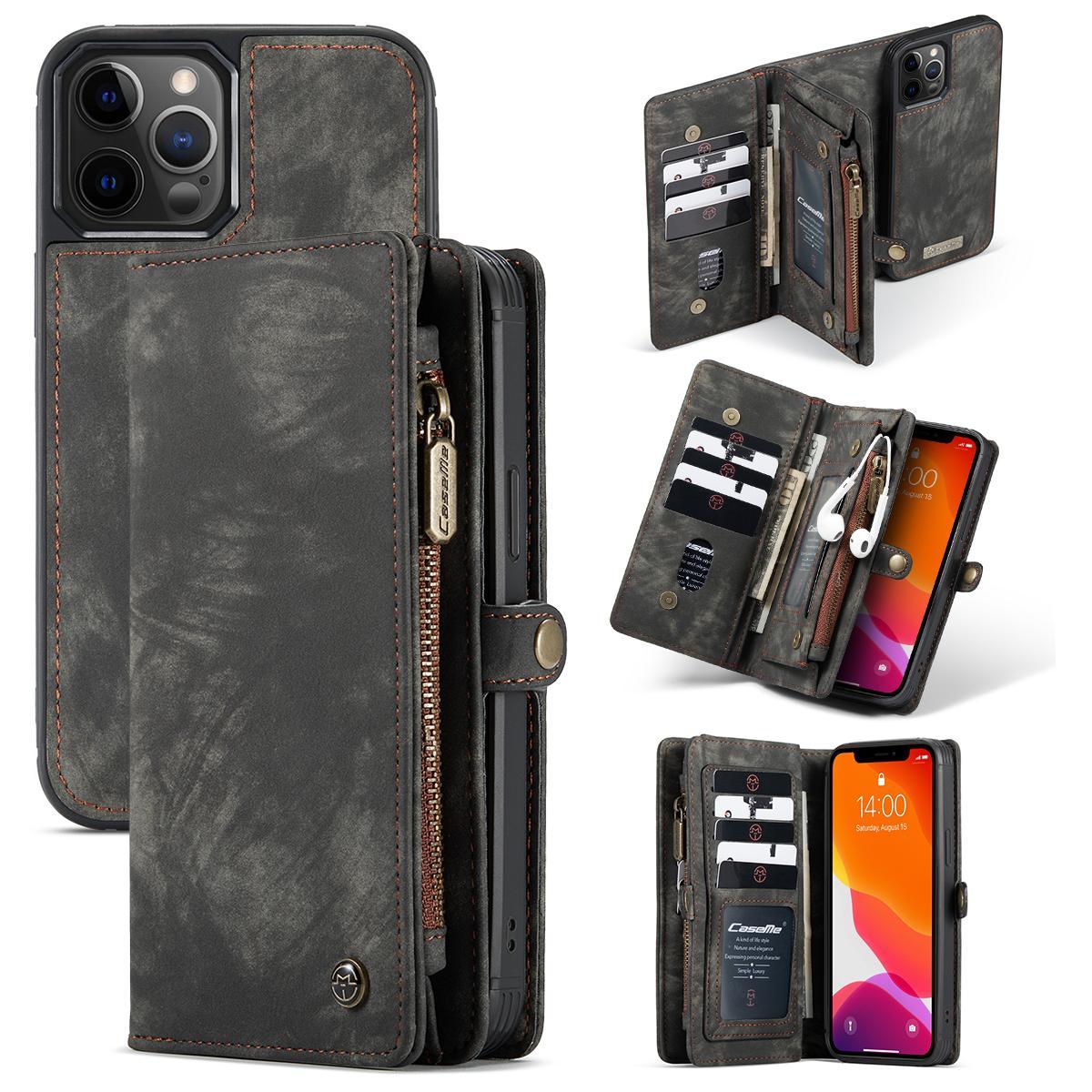 Multi-slot Lommeboksetui iPhone 12 Pro Max grå