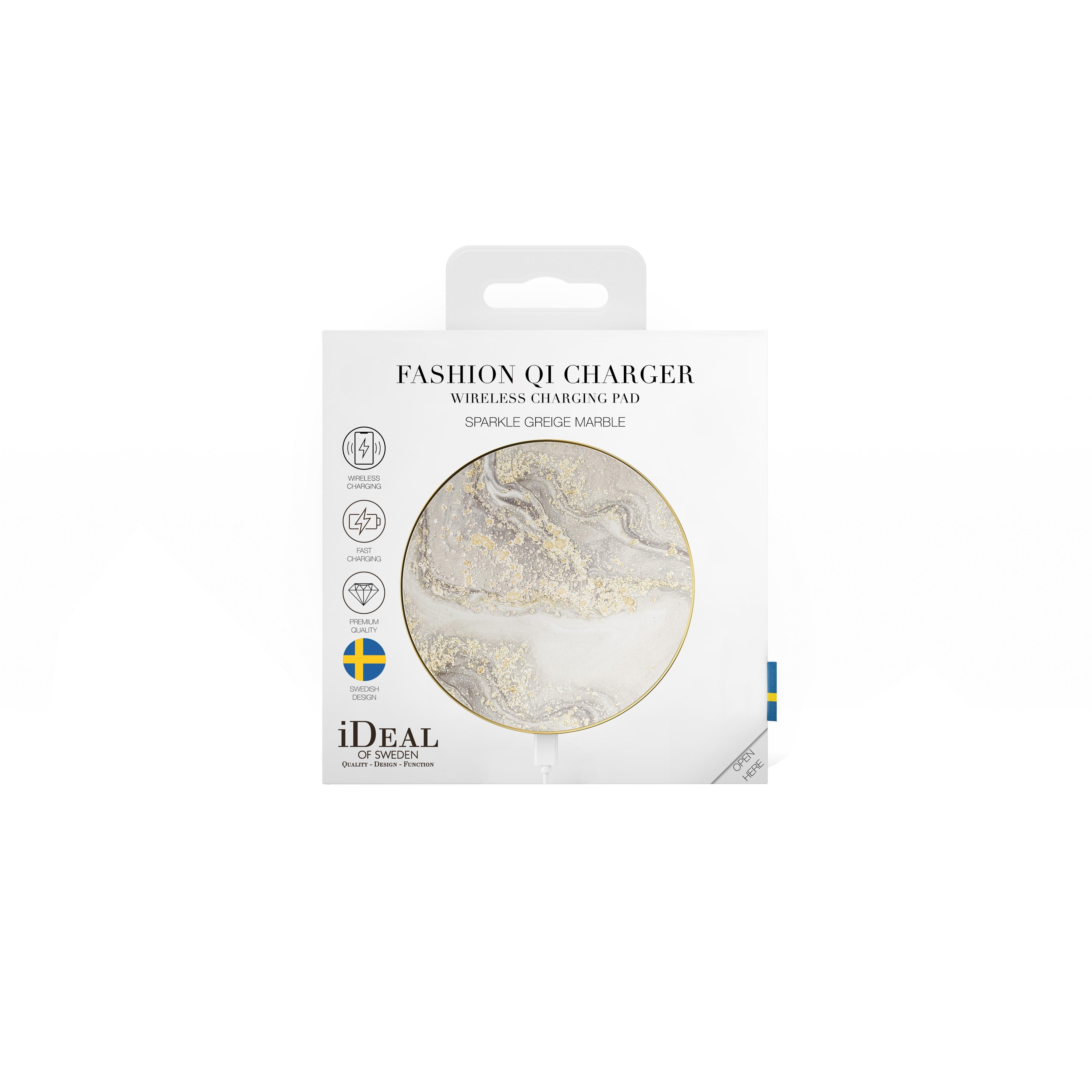 Fashion Qi Charger Sparkle Greige Marble
