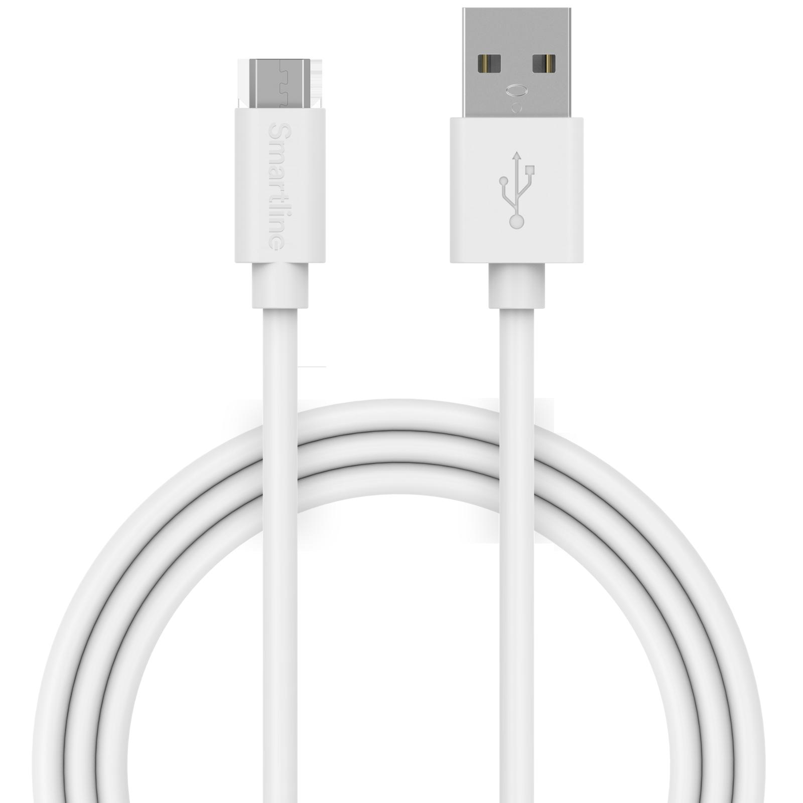 USB-kabel MicroUSB 1m Hvit
