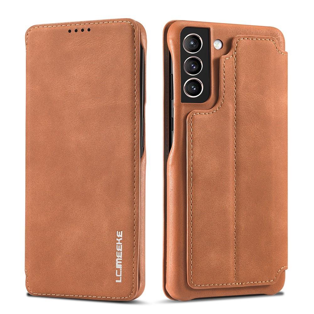 Slim Lommeboketui Samsung Galaxy S21 Cognac