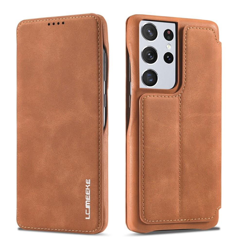 Slim Lommeboketui Samsung Galaxy S21 Ultra Cognac