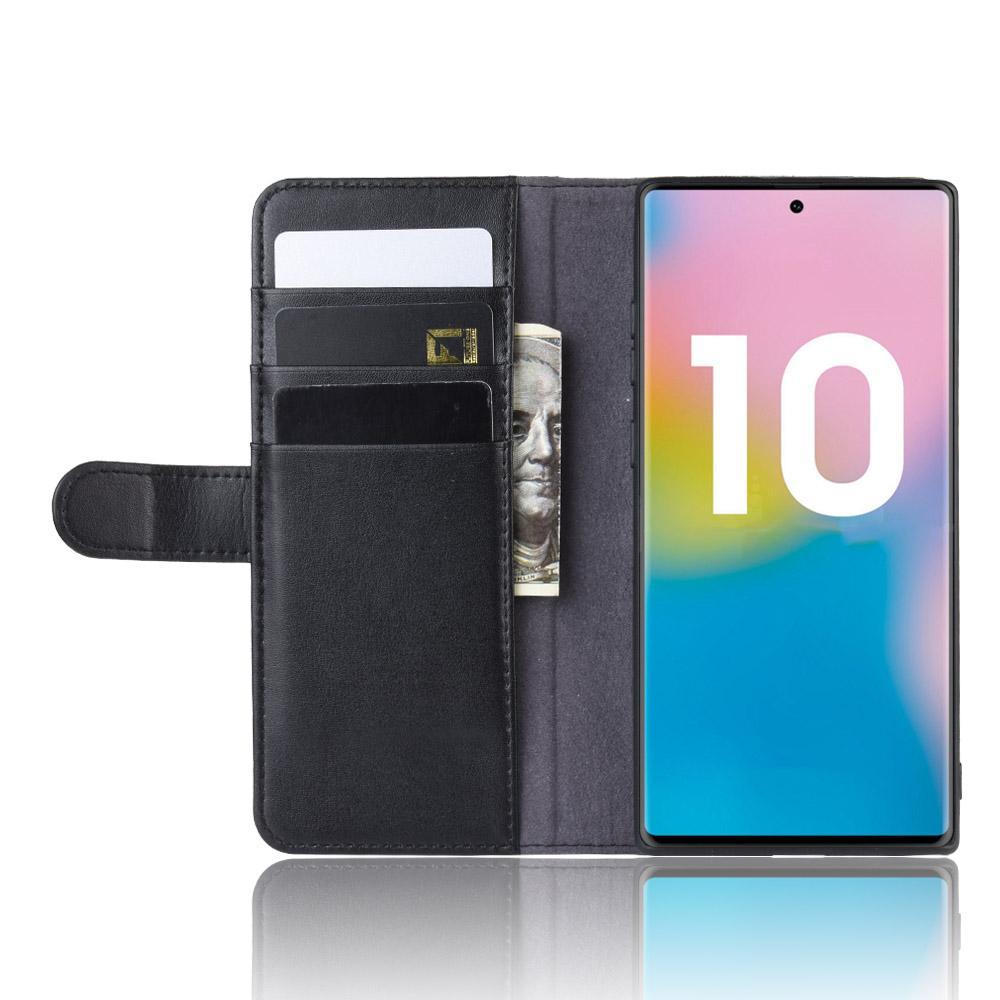 Ekte Lærveske Galaxy Note 10 Plus svart