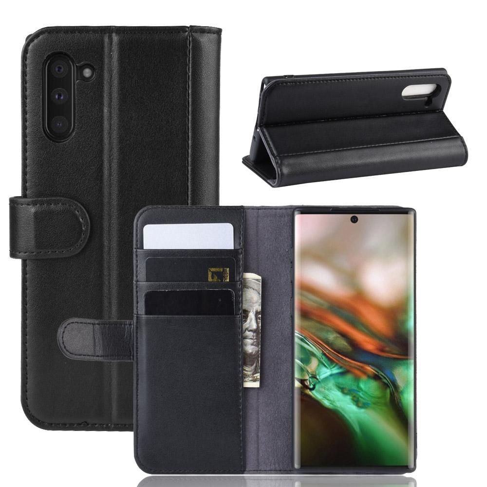 Ekte Lærveske Galaxy Note 10 svart