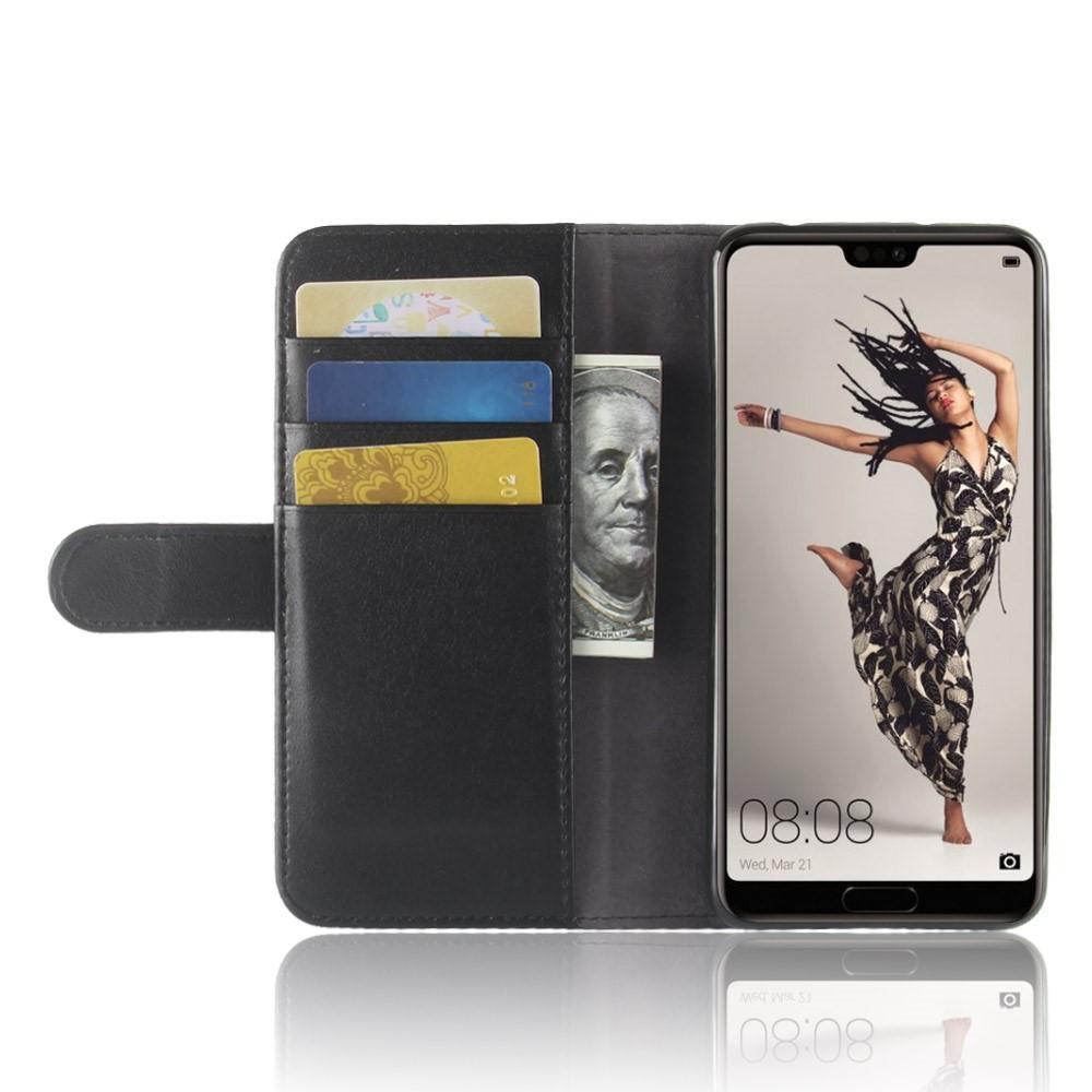 Ekte Lærveske Huawei P20 Pro svart