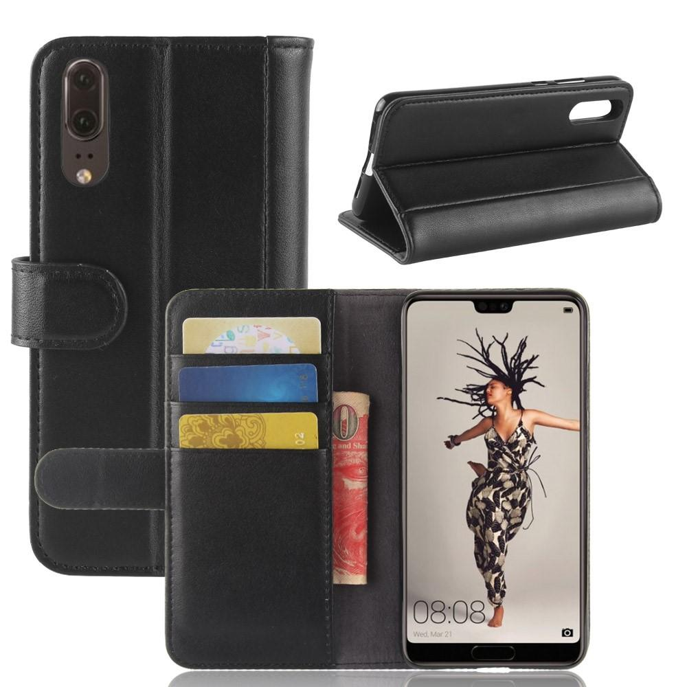 Ekte Lærveske Huawei P20 svart
