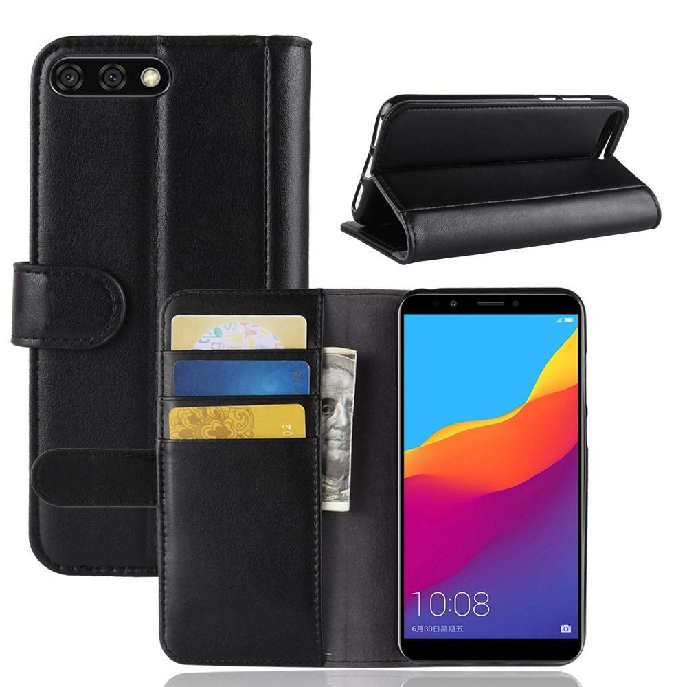 Ekte Lærveske Huawei Y6 2018 svart