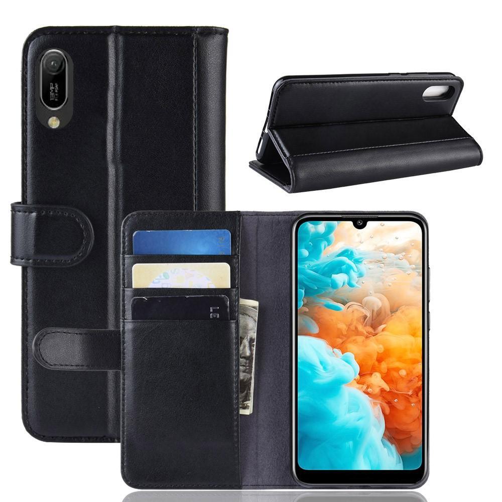 Ekte Lærveske Huawei Y6 2019 svart