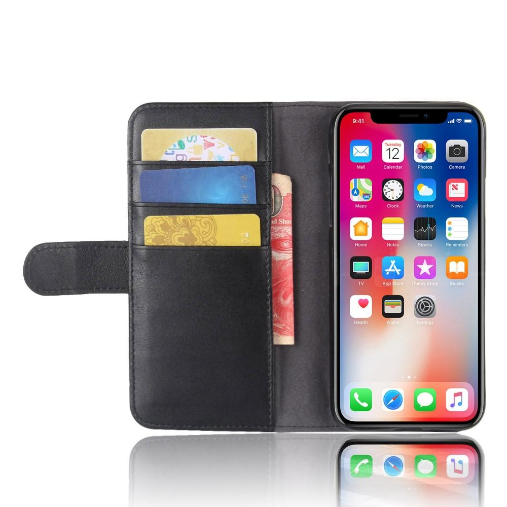 Ekte Lærveske iPhone X/XS svart