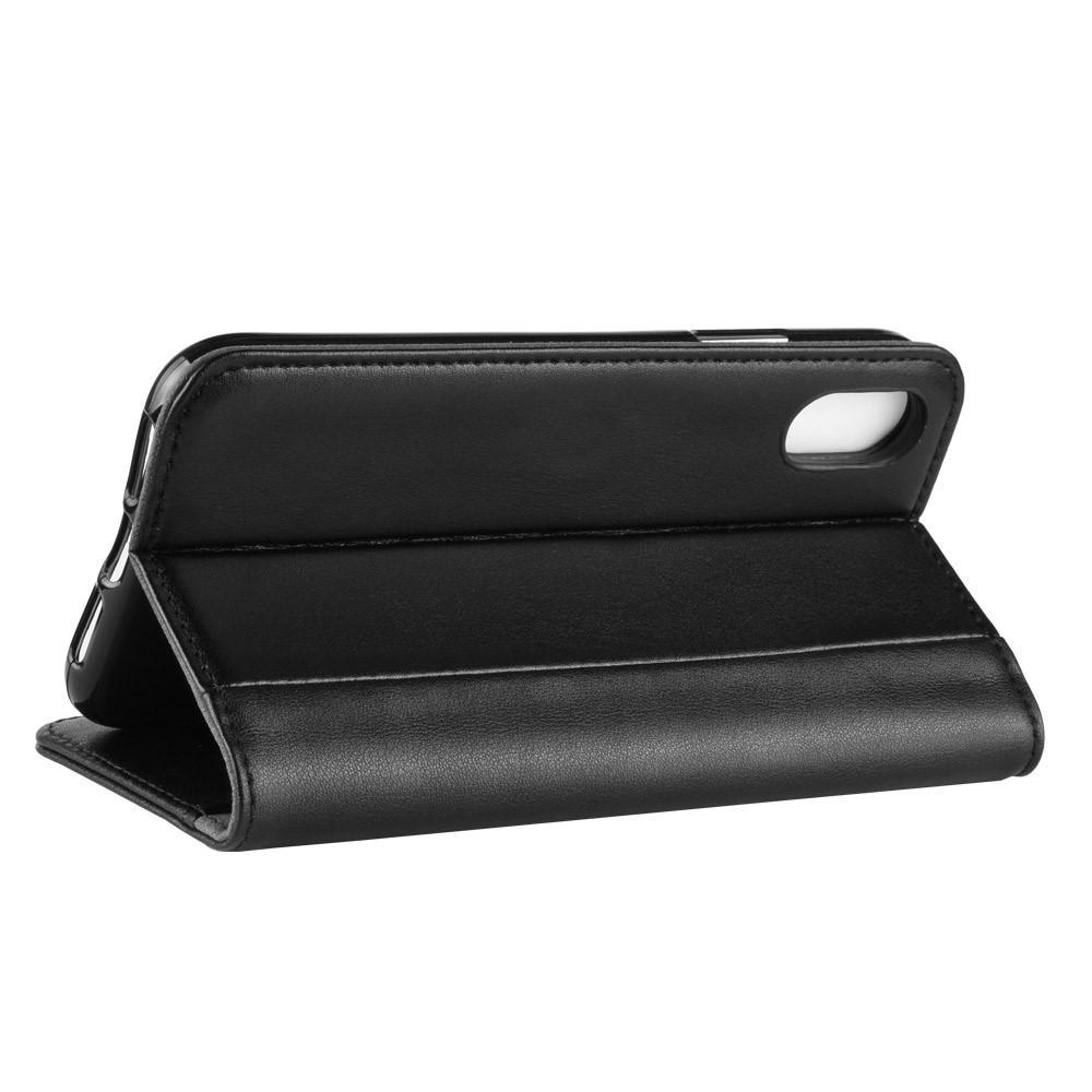 Ekte Lærveske iPhone XS Max svart