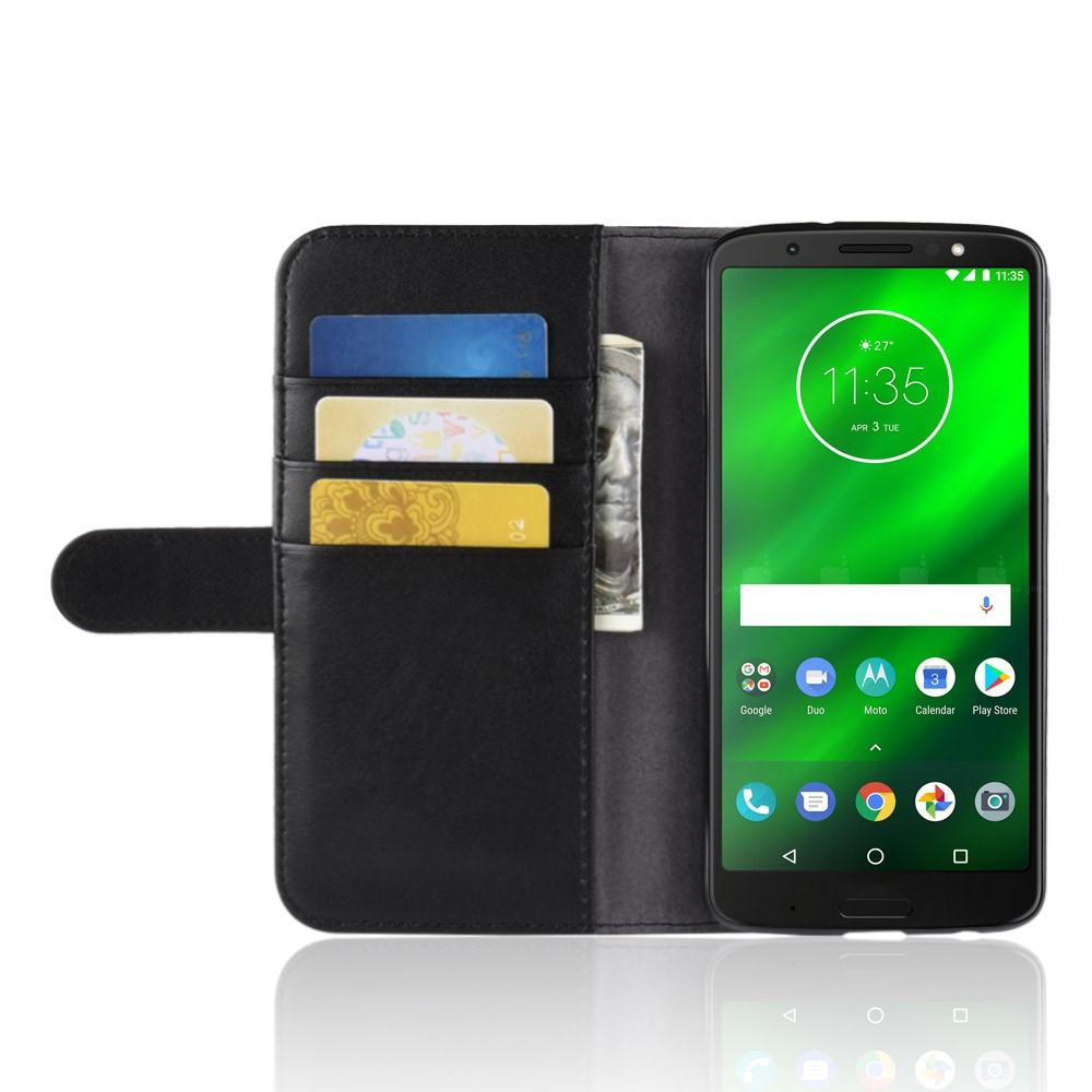 Ekte Lærveske Motorola Moto G6 Plus svart
