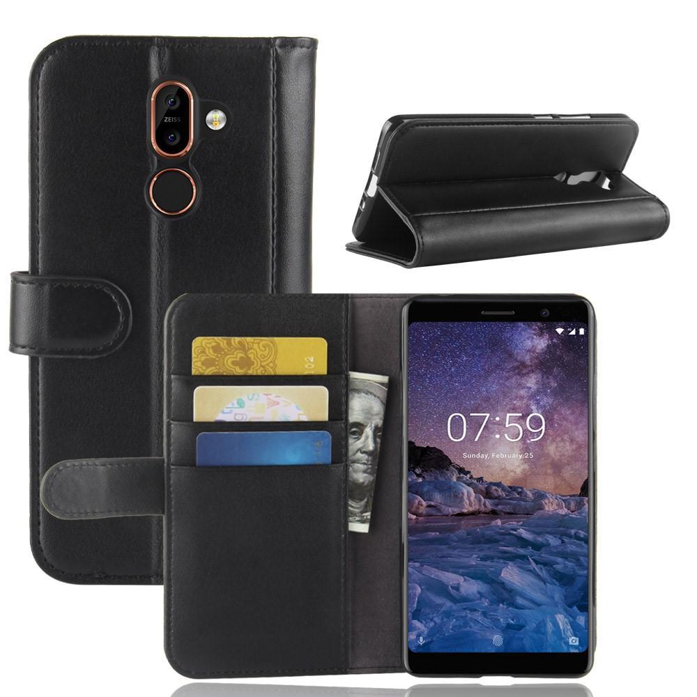 Ekte Lærveske Nokia 7 Plus svart