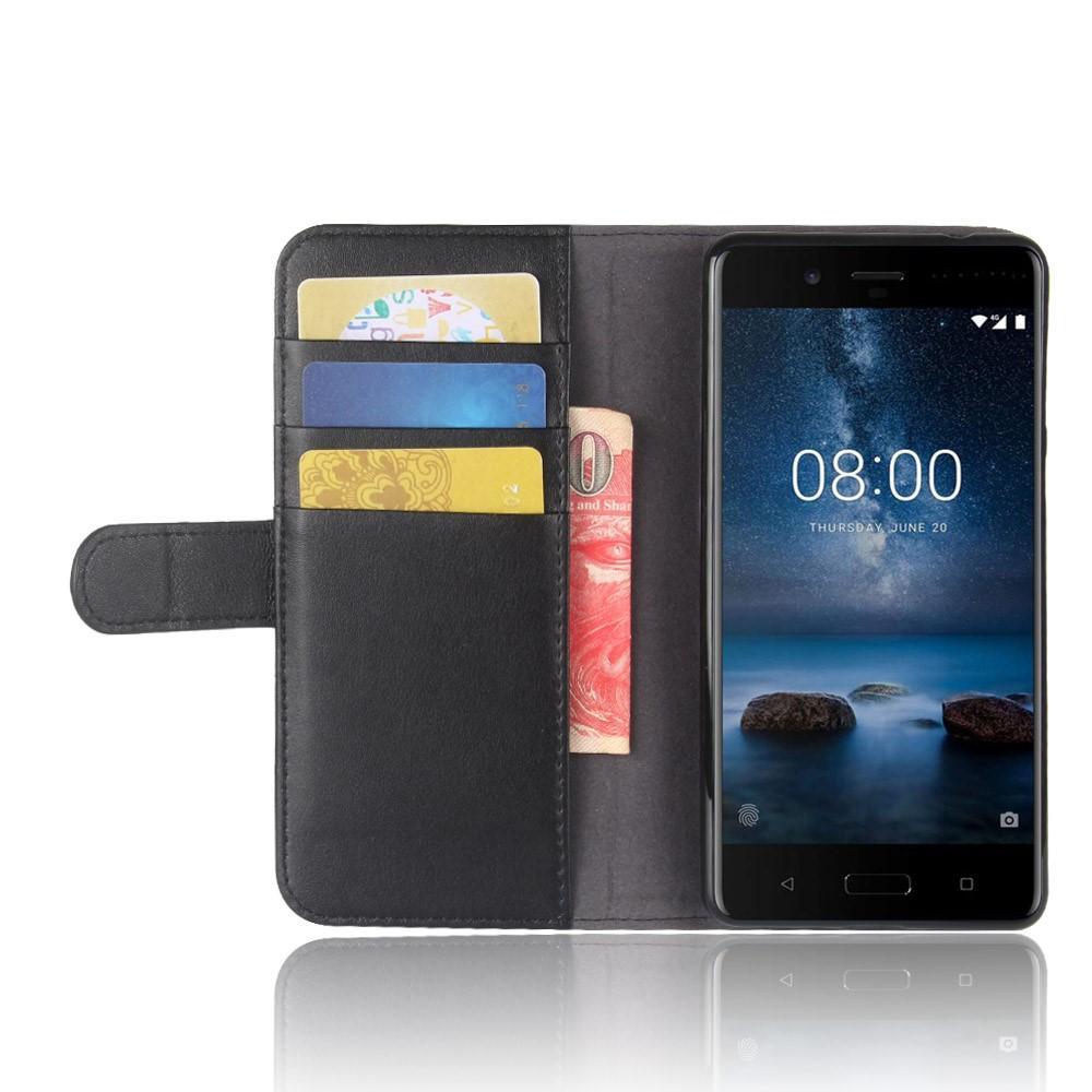 Ekte Lærveske Nokia 8 svart