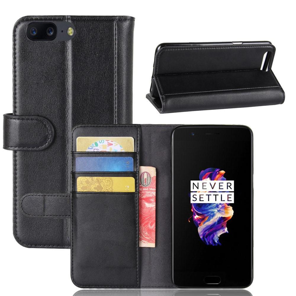 Ekte Lærveske OnePlus 5 svart