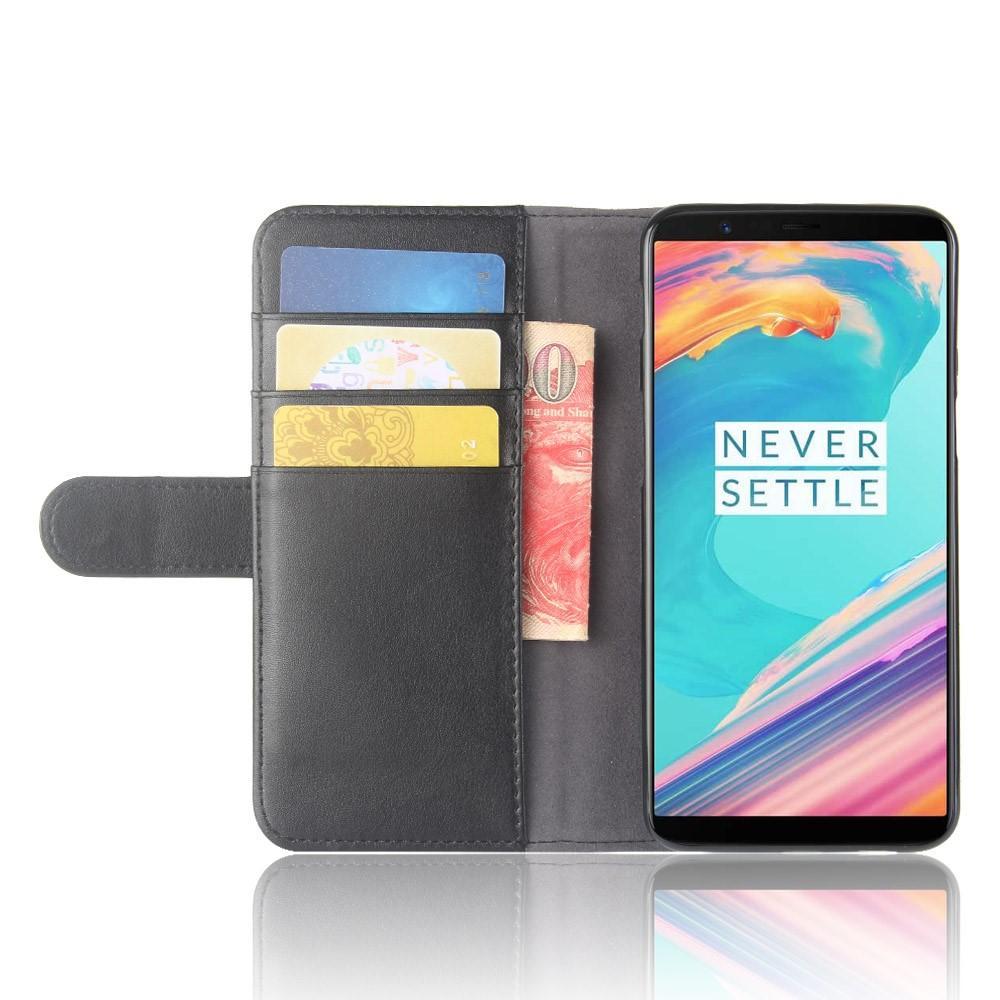 Ekte Lærveske OnePlus 5T svart
