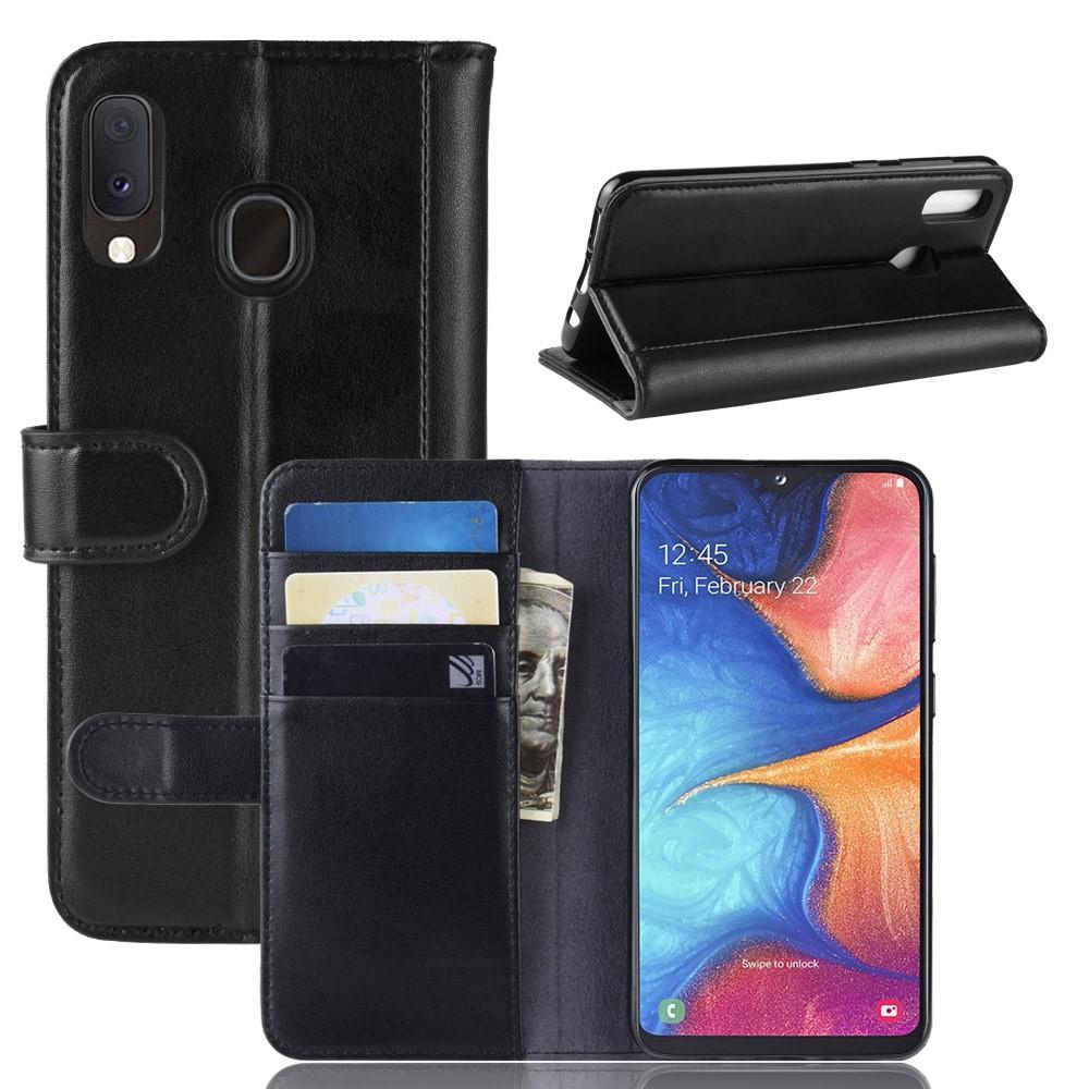 Ekte Lærveske Samsung Galaxy A20e svart