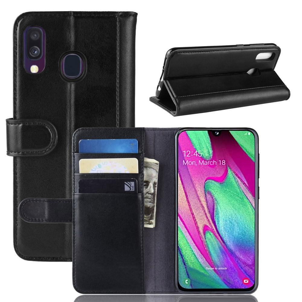 Ekte Lærveske Samsung Galaxy A40 svart