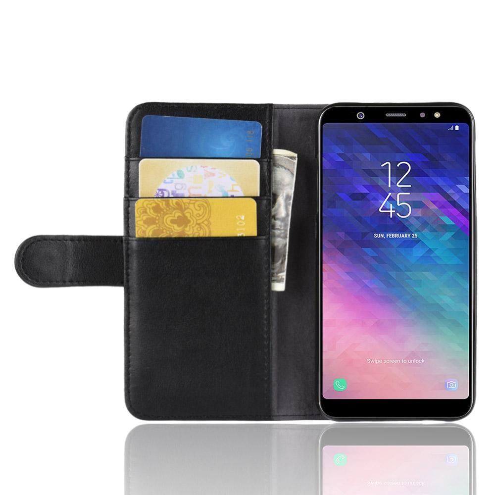 Ekte Lærveske Samsung Galaxy A6 2018 svart