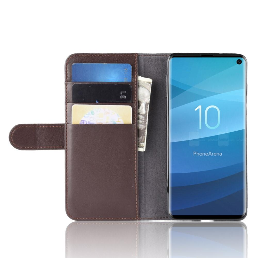 Ekte Lærveske Samsung Galaxy S10 brun
