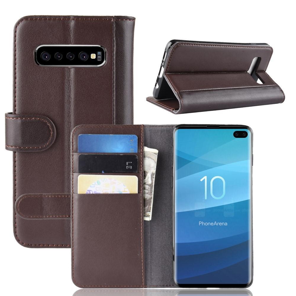 Ekte Lærveske Samsung Galaxy S10 Plus brun