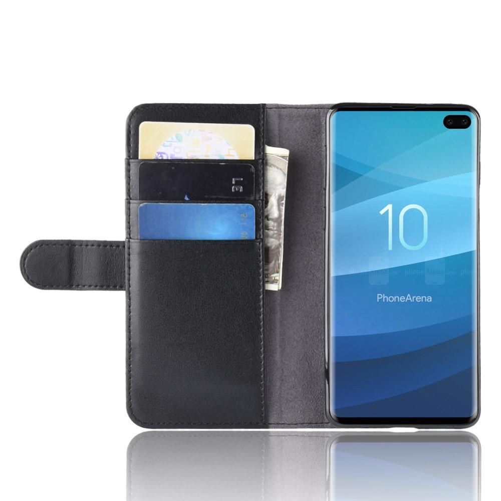 Ekte Lærveske Samsung Galaxy S10 Plus svart