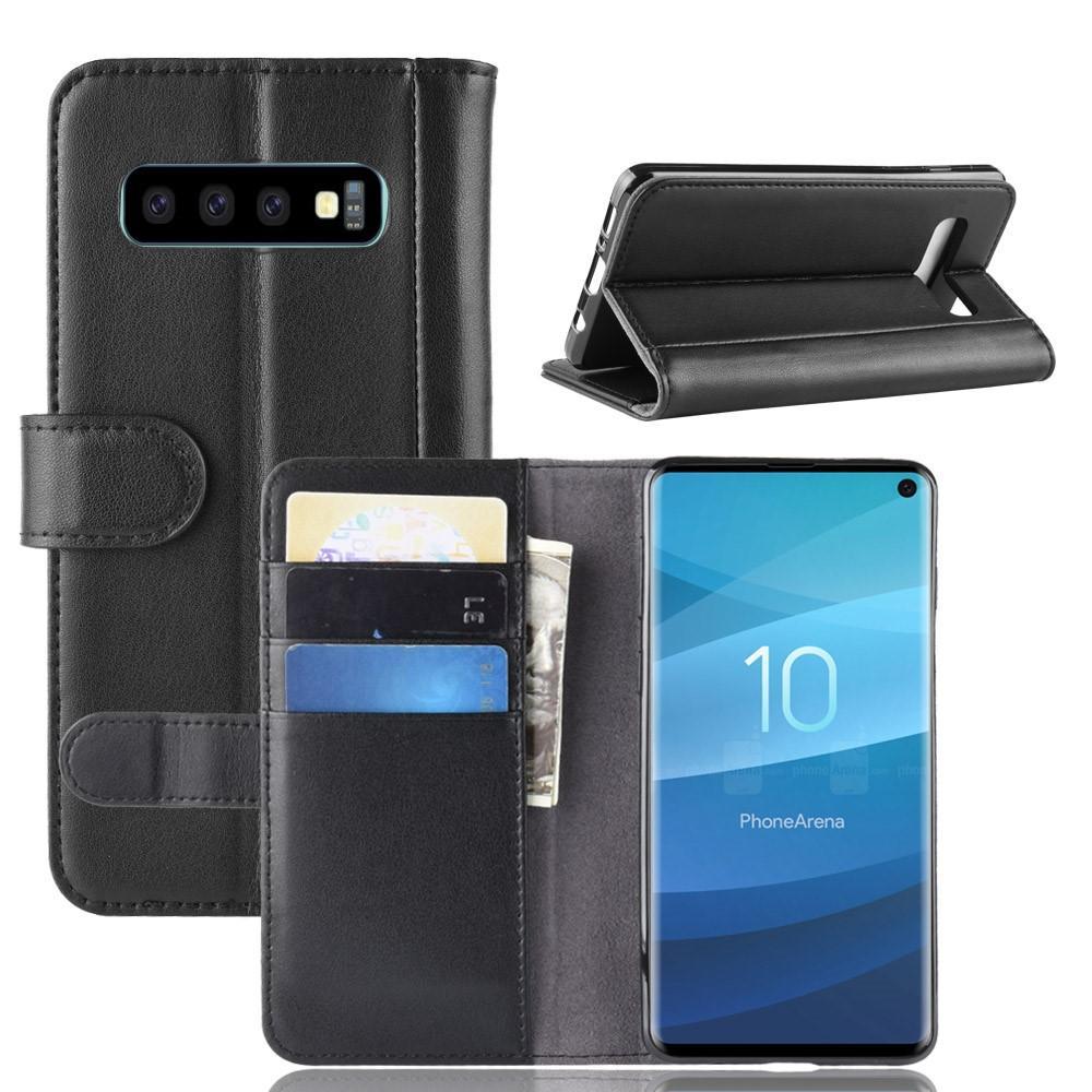 Ekte Lærveske Samsung Galaxy S10 svart