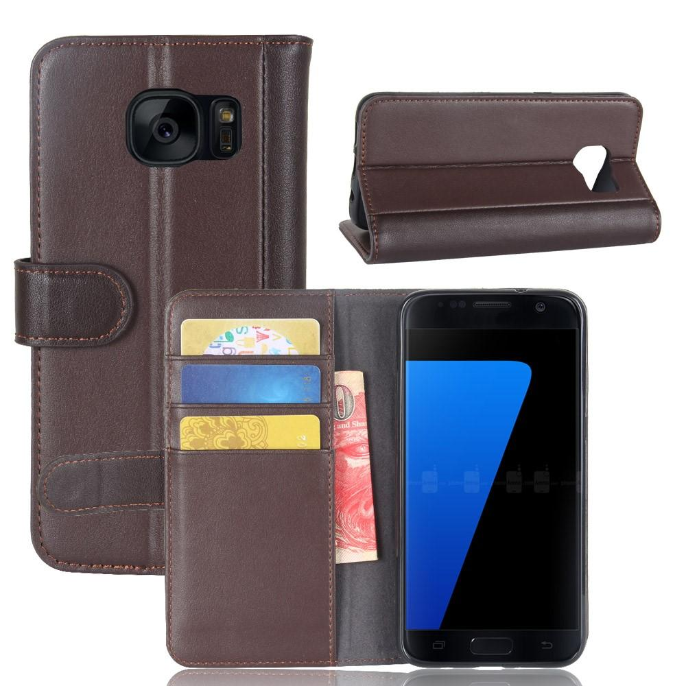 Ekte Lærveske Samsung Galaxy S7 brun