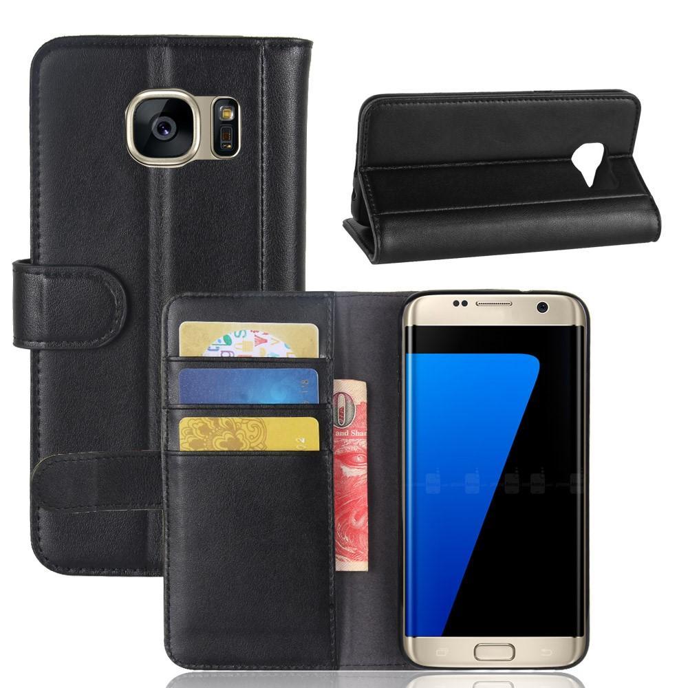 Ekte Lærveske Samsung Galaxy S7 Edge svart