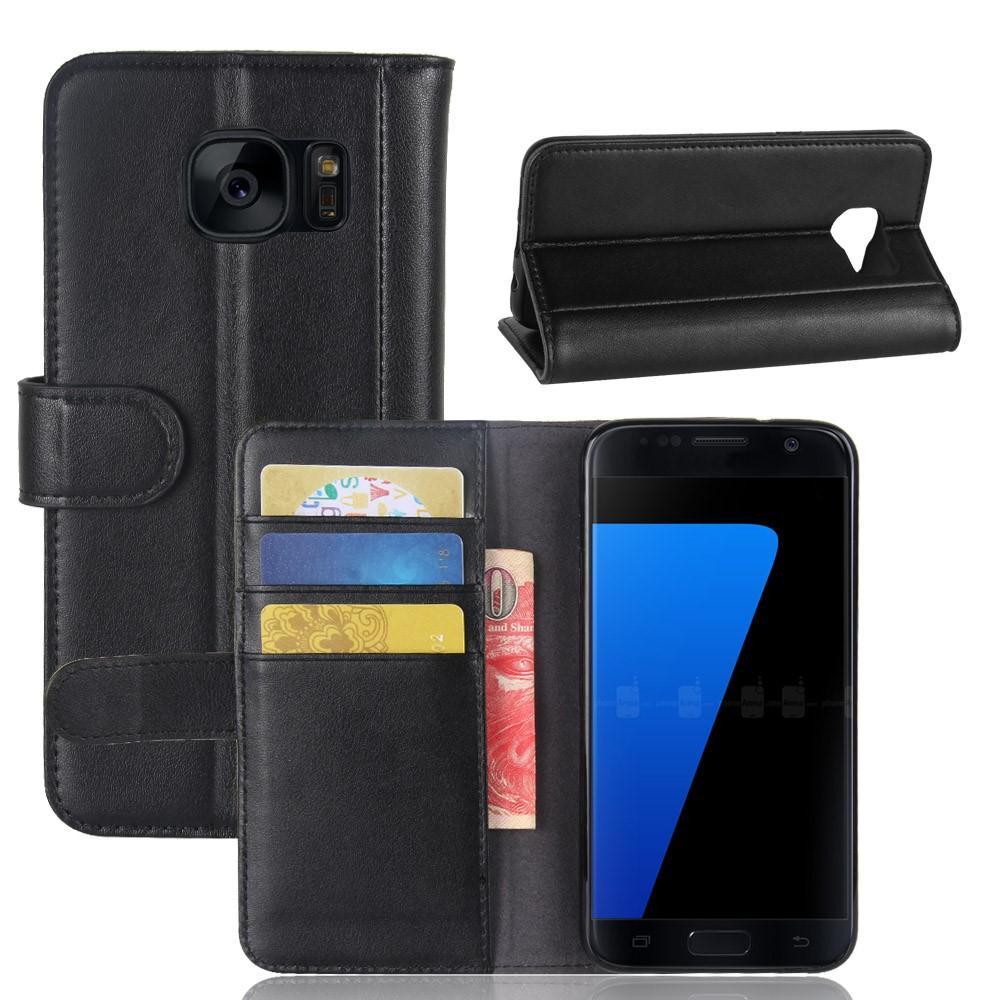 Ekte Lærveske Samsung Galaxy S7 svart