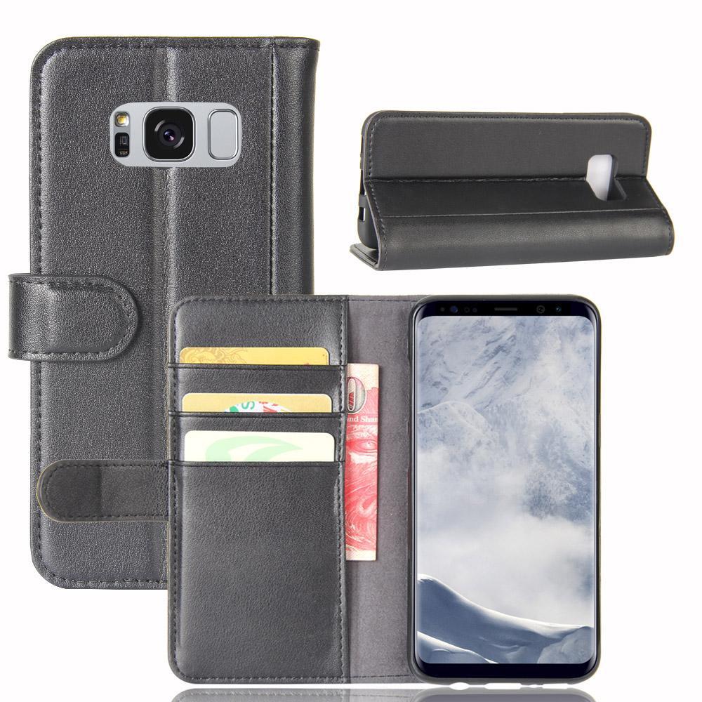 Ekte Lærveske Samsung Galaxy S8 Plus svart