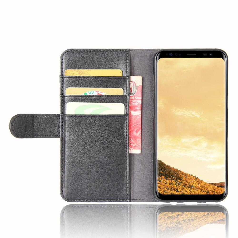 Ekte Lærveske Samsung Galaxy S8 svart