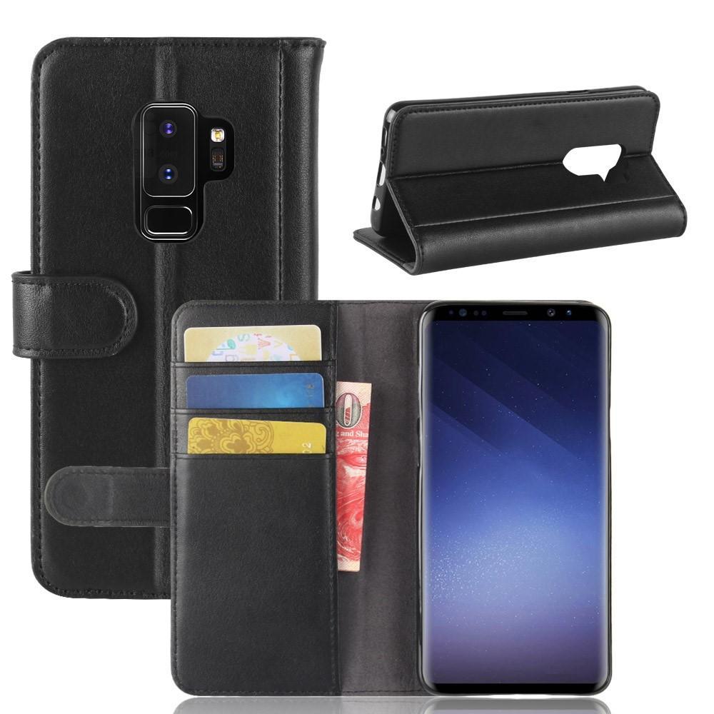 Ekte Lærveske Samsung Galaxy S9 Plus svart