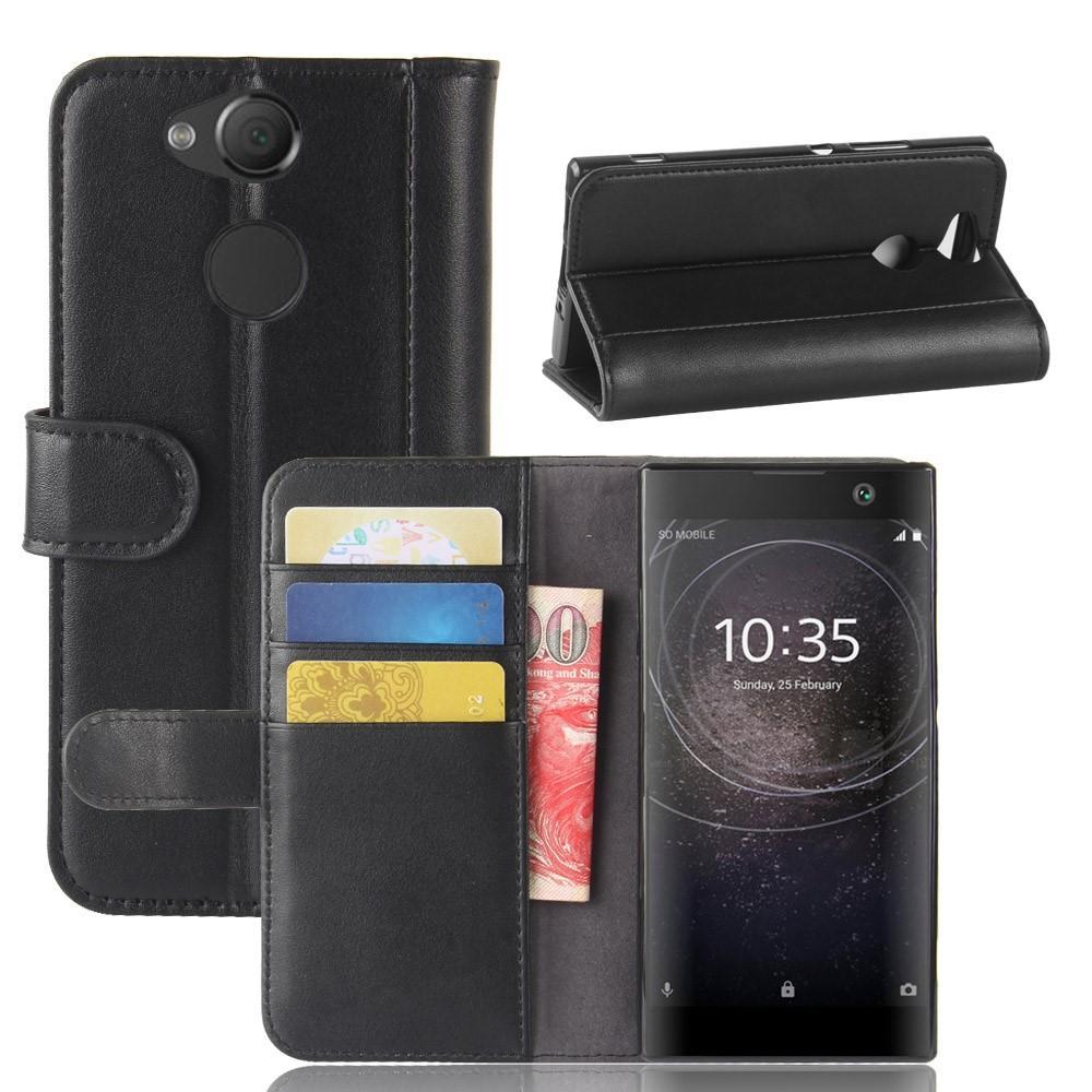 Ekte Lærveske Sony Xperia XA2 svart