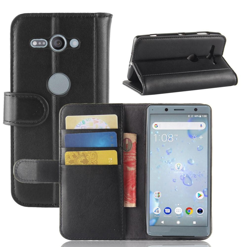 Ekte Lærveske Sony Xperia XZ2 Compact svart