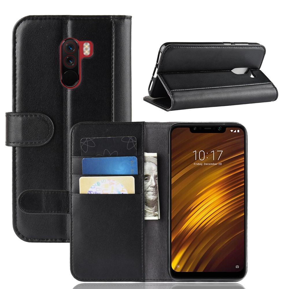 Ekte Lærveske Xiaomi Pocophone F1 svart