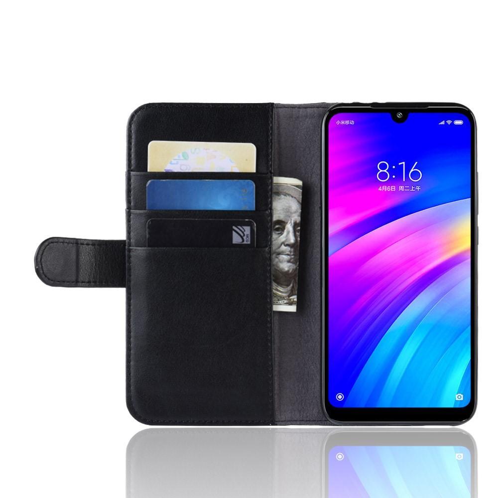Ekte Lærveske Xiaomi Redmi 7 svart
