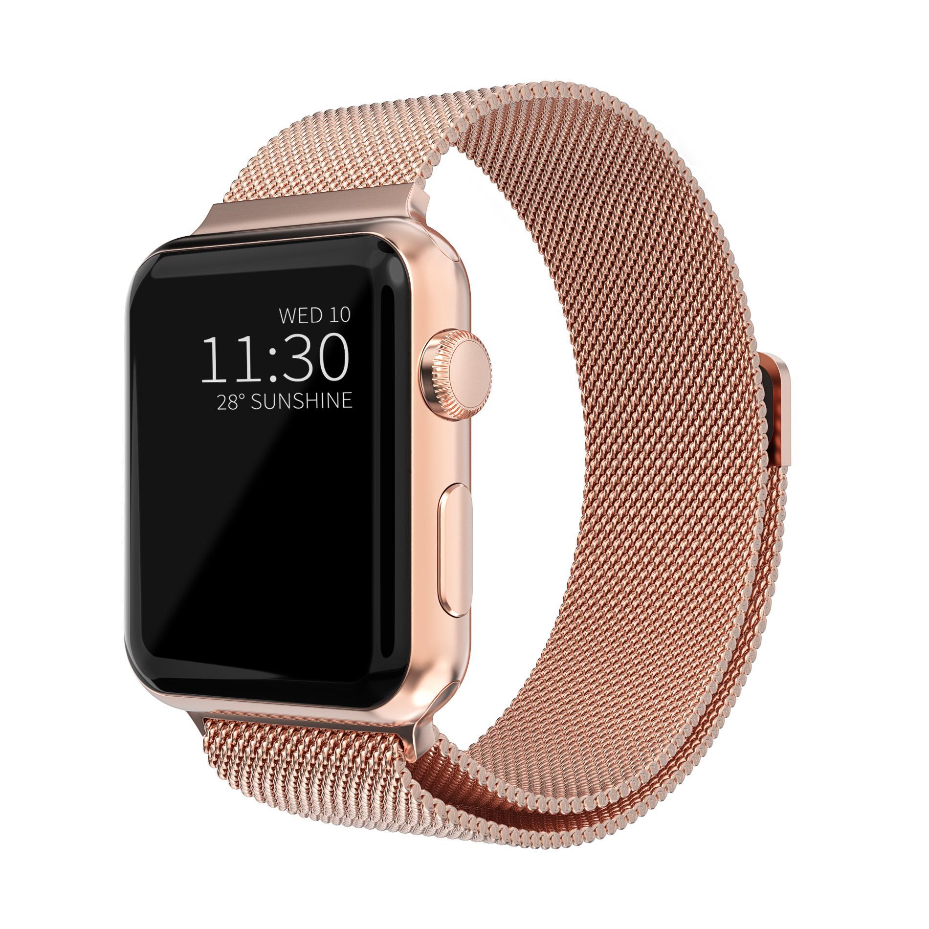 Armbånd Milanese Loop Apple Watch 42/44/45 mm rosegull