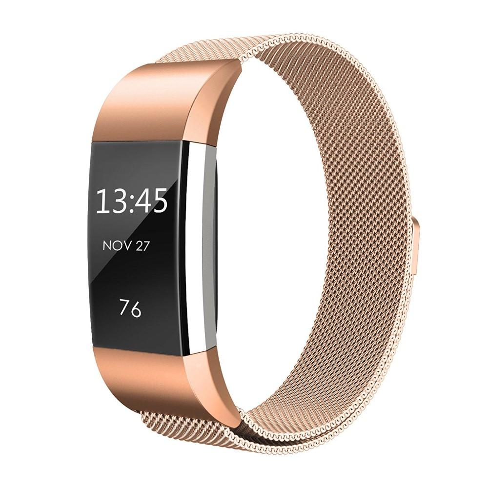 Armbånd Milanese Loop Fitbit Charge 2 rosegull