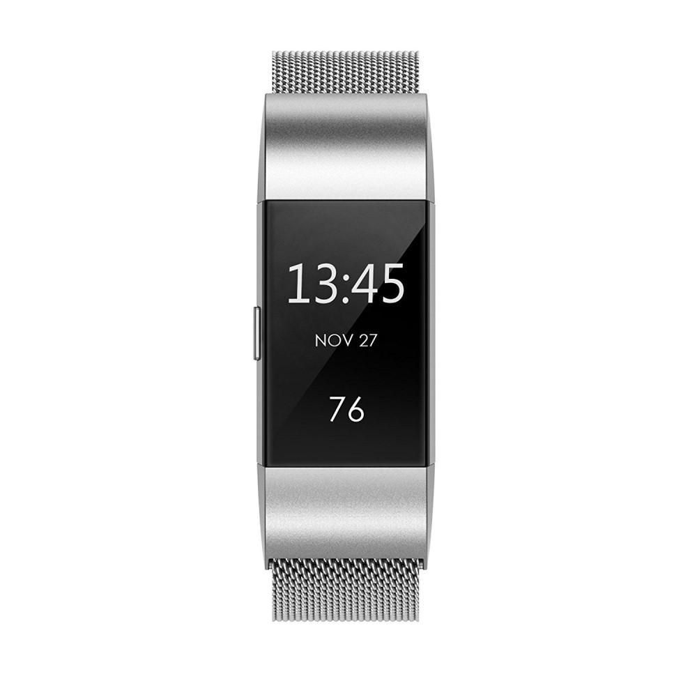 Armbånd Milanese Loop Fitbit Charge 2 sølv
