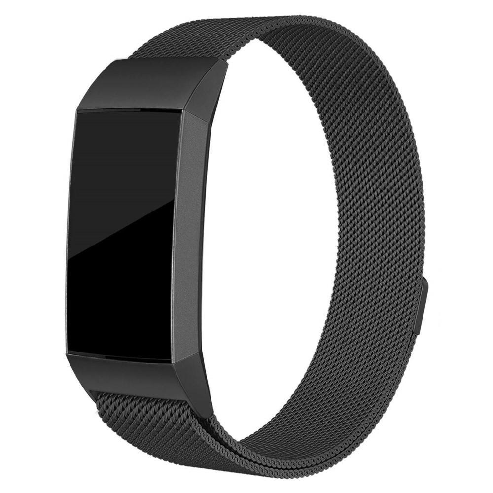 Armbånd Milanese Loop Fitbit Charge 3/4 svart