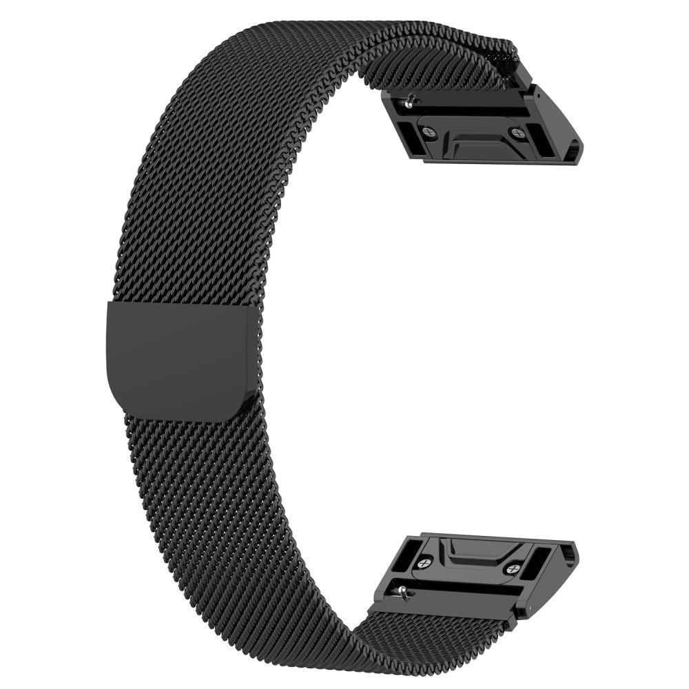 Armbånd Milanese Loop Garmin Fenix 3/3 HR/5X/5X Plus svart