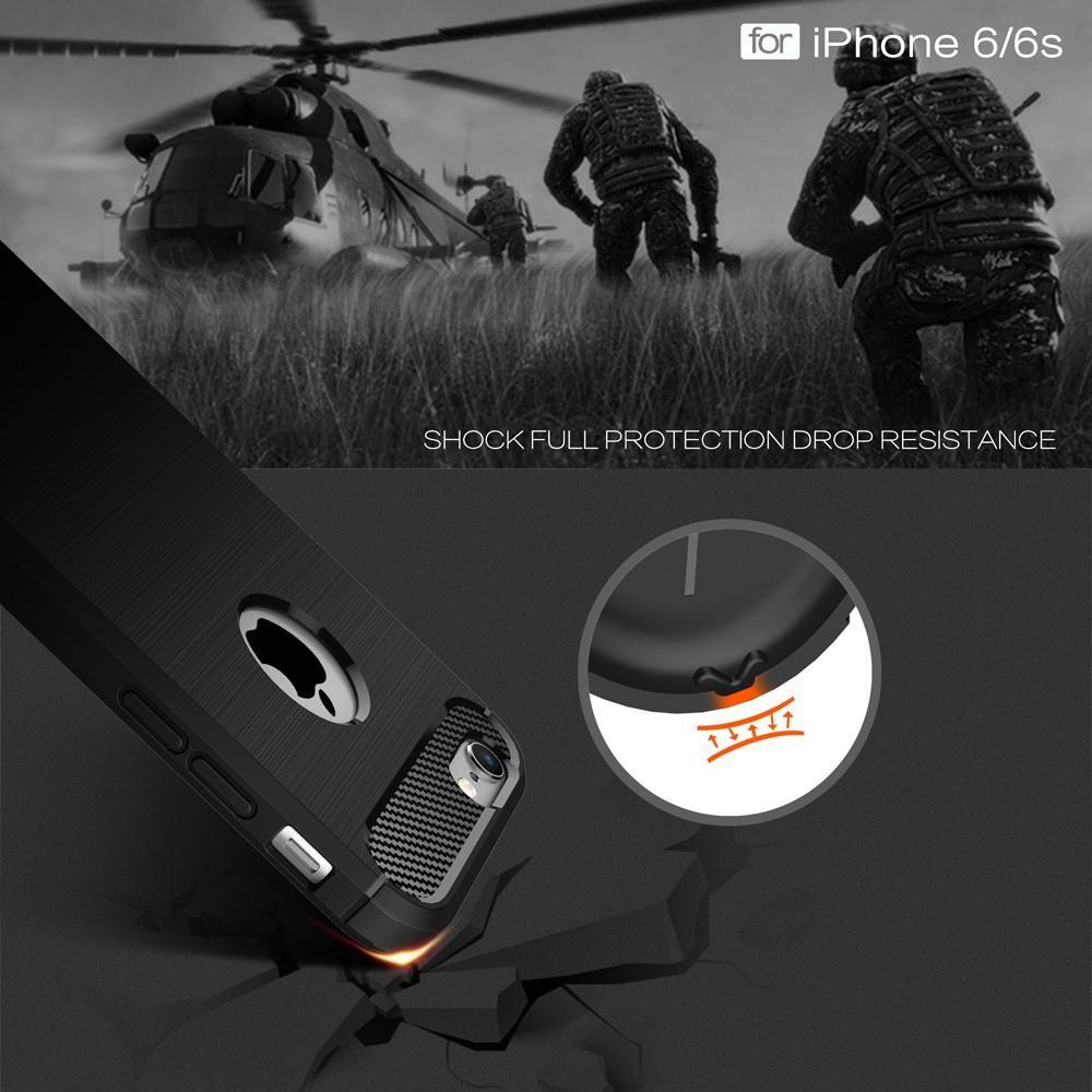 Brushed TPU Deksel iPhone 6/6S black