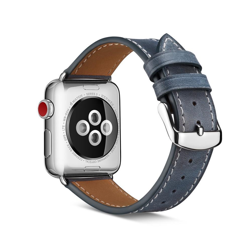 Lærarmbånd Apple Watch 42/44/45 mm blå