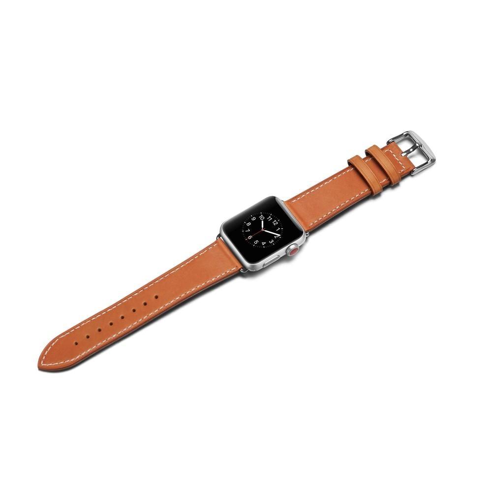 Lærarmbånd Apple Watch 42/44/45 mm cognac
