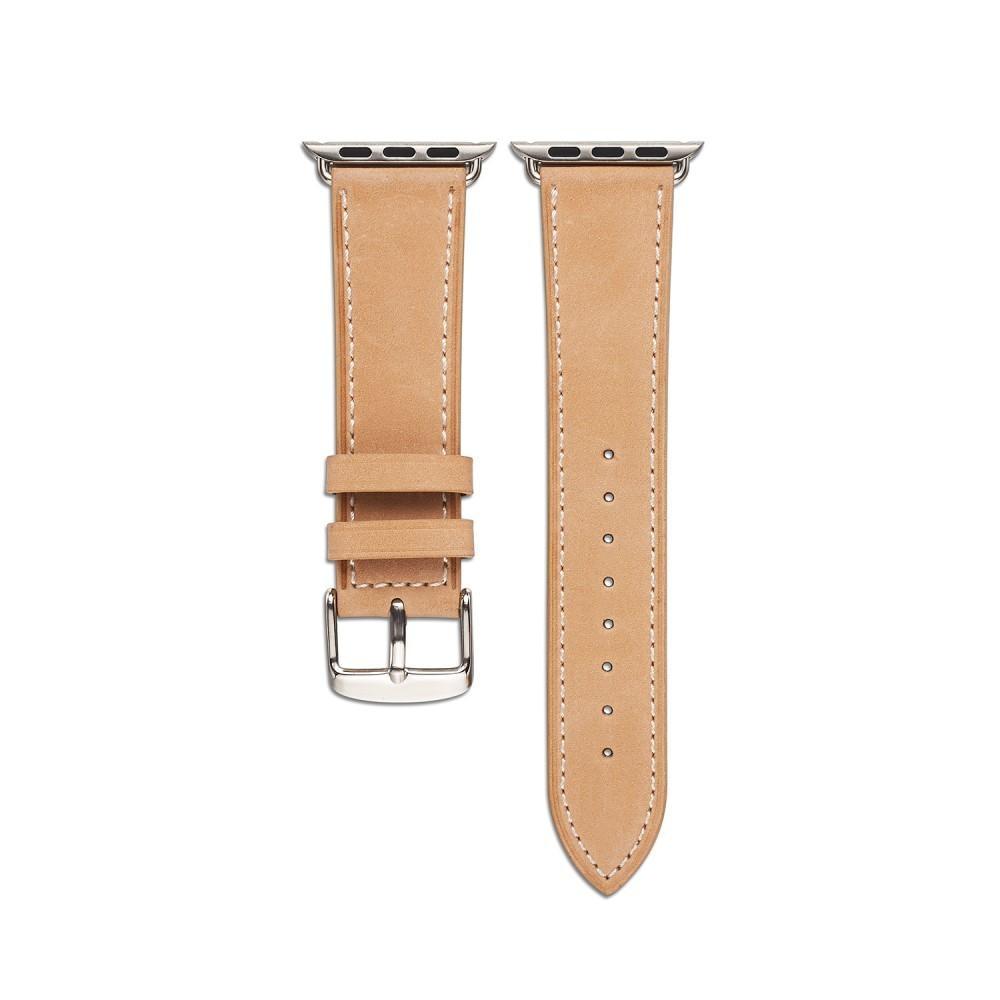 Lærarmbånd Apple Watch 42/44/45 mm khaki
