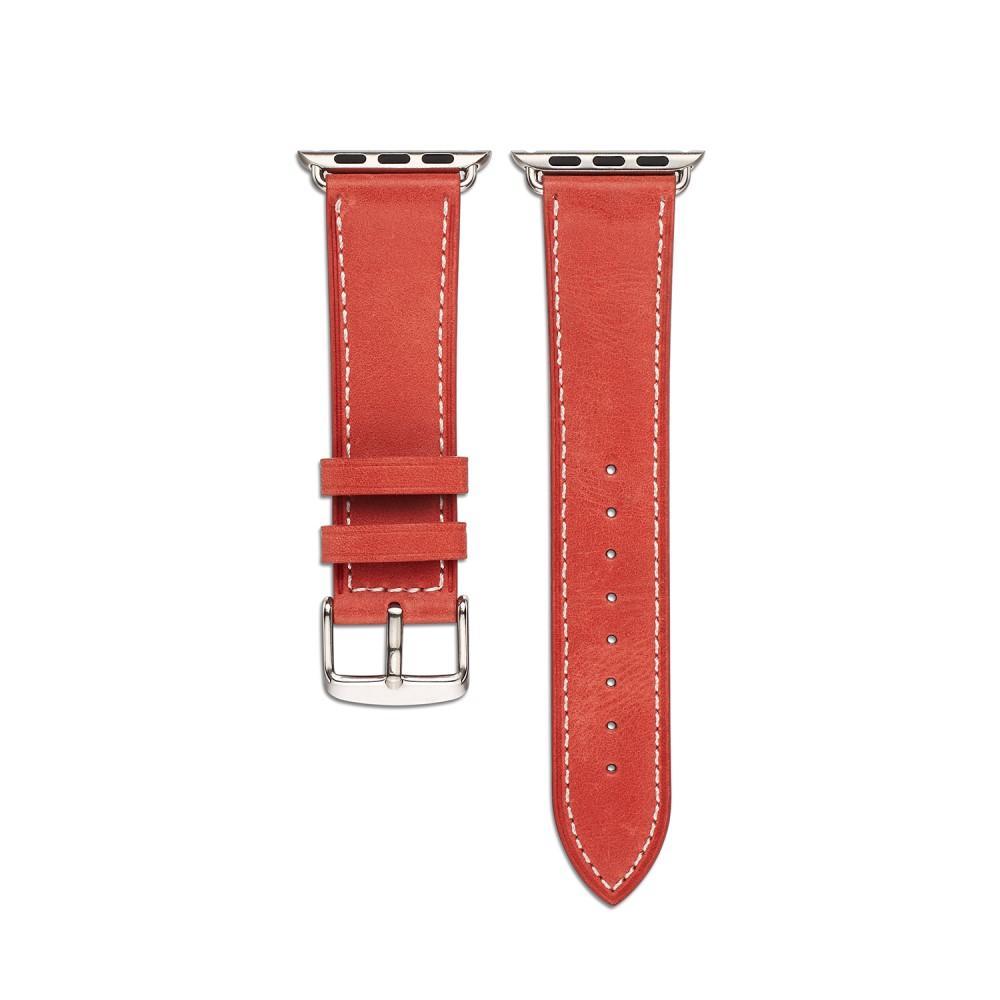 Lærarmbånd Apple Watch 42/44/45 mm rød
