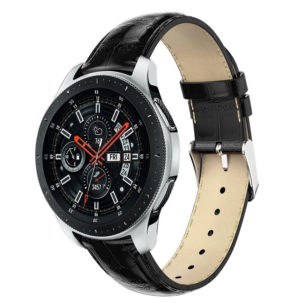Lærarmbånd Krokodille Galaxy Watch 46mm svart