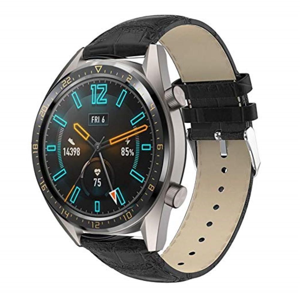 Lærarmbånd Krokodille Huawei Watch GT/GT 2 46mm/GT 2e svart