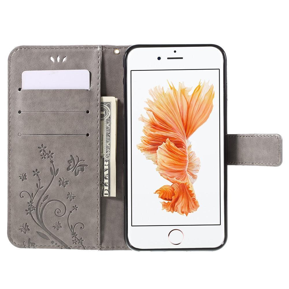 Lærveske Sommerfugler Apple iPhone 6/6S grå