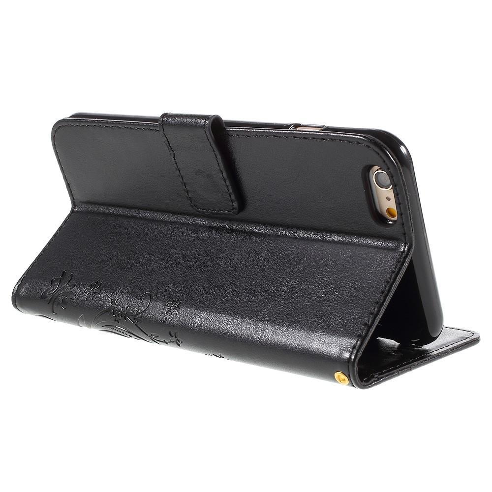 Lærveske Sommerfugler Apple iPhone 6/6S svart