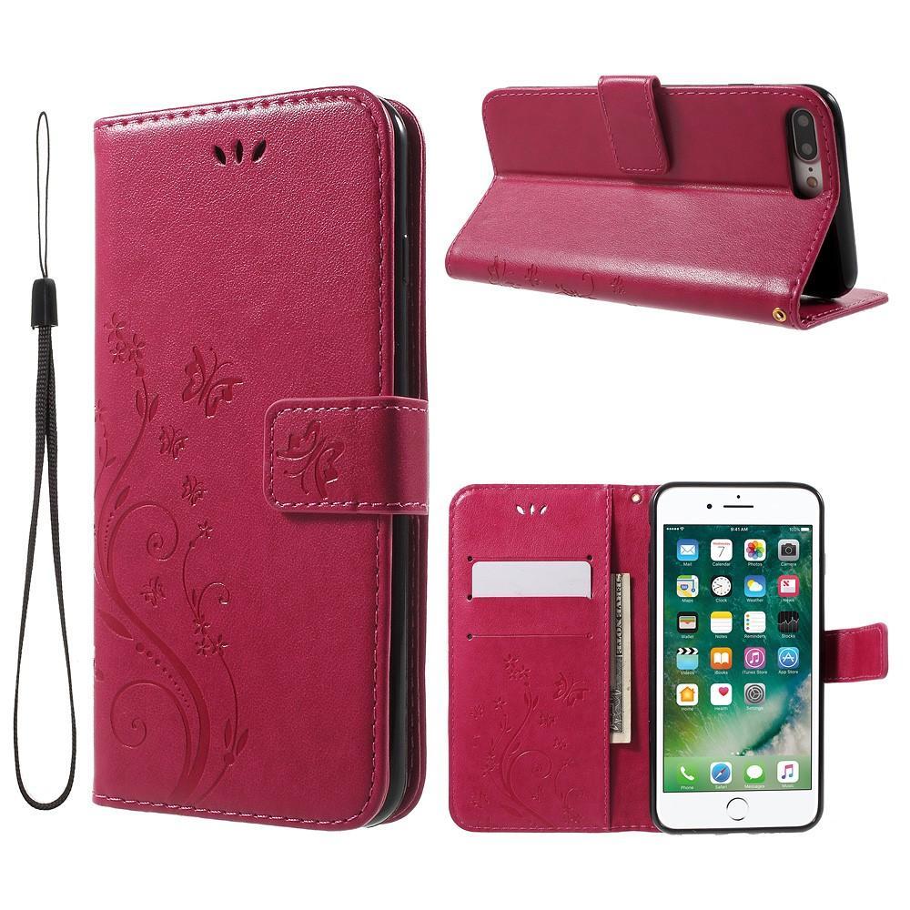 Lærveske Sommerfugler Apple iPhone 7 Plus/8 Plus rosa